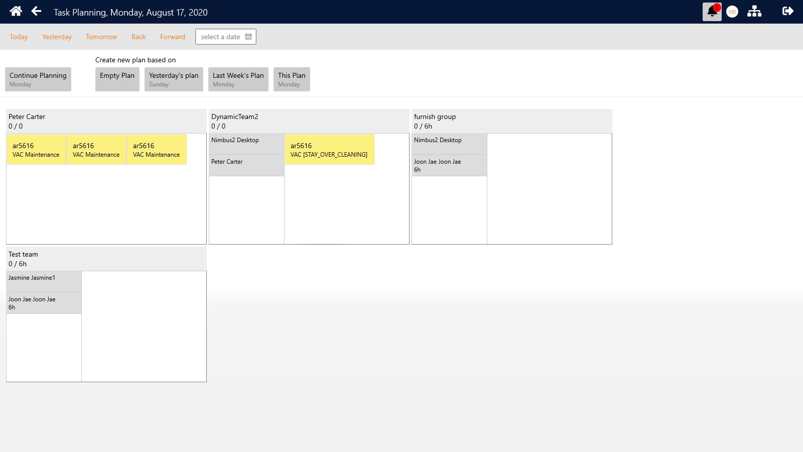 The planning and assignment of tasks is available in both the desktop and mobile App